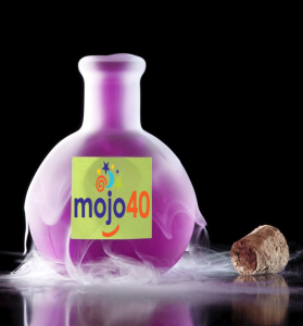 A purple bottle that may be bubbling with mojo