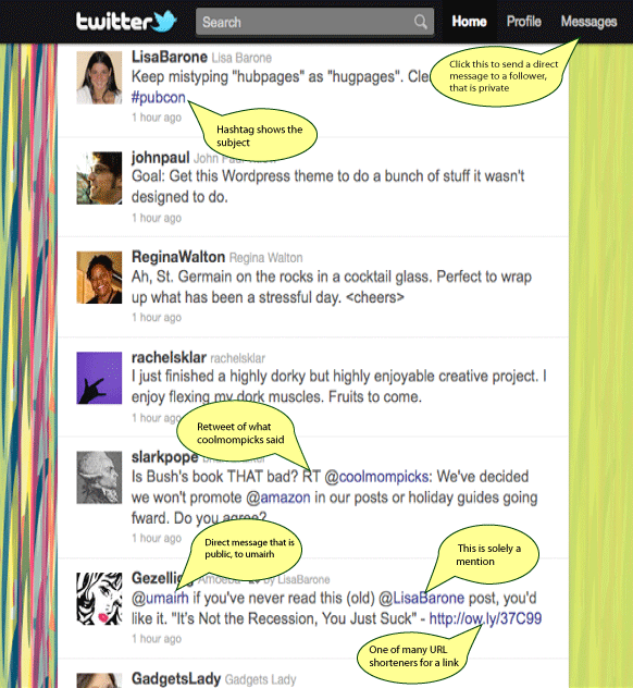 A screen shot of Twitter with tweets, followers and hashtags