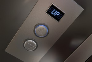Picture of an elevator up button