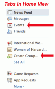 Picture of the icons for Facebook events and groups