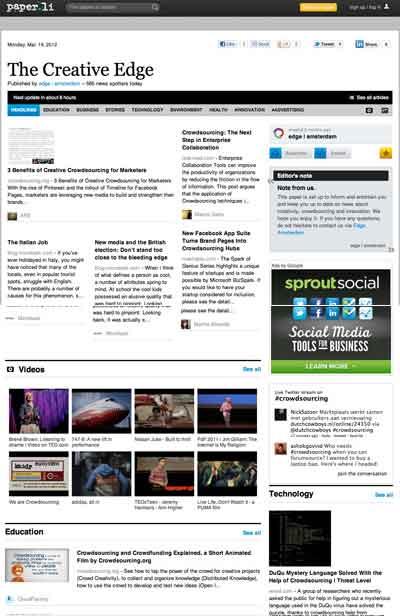 A paper.li news magazine focused on keyword crowdsourcing width=