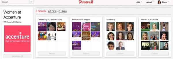 career visibility with Accenture Pinterest page