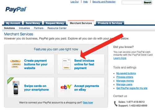 get paid by sending an electronic invoice from PayPal