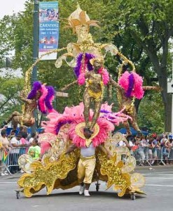 a street carnival performer at the West Indian parade, Labor Day in Brooklyn