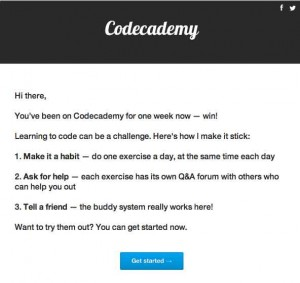 email that came from codeacademy to encourage me to keep working